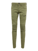 JACK & JONES, Heren Jeans 'JJIGLENN JJJAXX BIKER JJ OLIVE NIGHT', olij...
