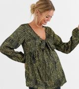 Influence Maternity blouson sleeve blouse in satin croc print-Multi